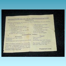 Rare Vintage 1944 World War Two England D-Day Memorabilia - Combat Troops Food Ration – British 24-Hour Ration Preparation Instructions