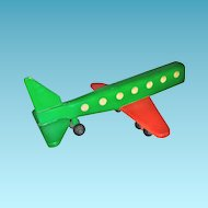 Handcrafted Childrens Wooden Toy Airplane - Large Handmade Vintage 20th Century Jet-Liner Passenger Aircraft - Wooden Wheels and Axles