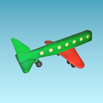 Handcrafted Wooden Child's Toy Airplane - Large Handmade 20th Century Vintage Jet-Liner Passenger Aircraft - Wooden Wheels and Axles