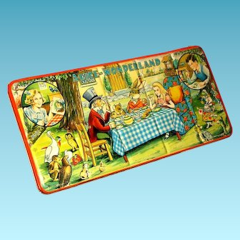 Alice in Wonderland 1950s Vintage Page London Paint Box - Mad Hatter's Tea Party Tin Lithograph - Made in England - VERY LARGE