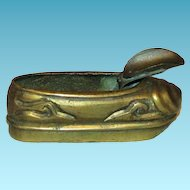 China Import Miniature Articulated Chinese Brass Slipper Vintage Ashtray - Molded and Hand Carved Possibly Rare - China Mark - c1930-1959