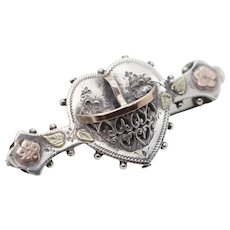 Aesthetic Period Sterling Silver 1899 Victorian Hallmarked Floral Heart Basket Ladies Sweetheart Brooch
