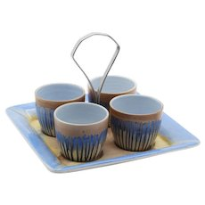 Four Egg Cups and Holder by Shelley Bone China Drip Glaze