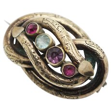 Victorian Lovers Knot Pin Back Brooch with Purple Red and Blue Glass Faceted Stones
