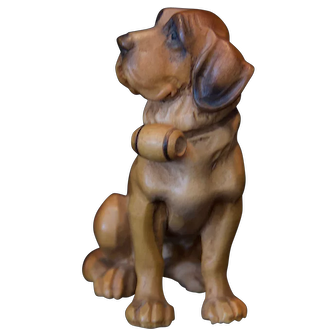 ANRI (Italy) Woodcarving of a St. Bernard Dog