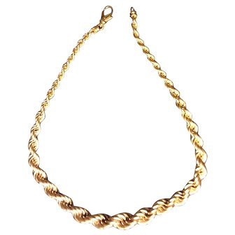 14K Gold Rope Necklace, graduated 18""