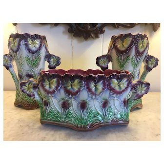 Frie Onnainh French Enameled 3 piece Garniture Set