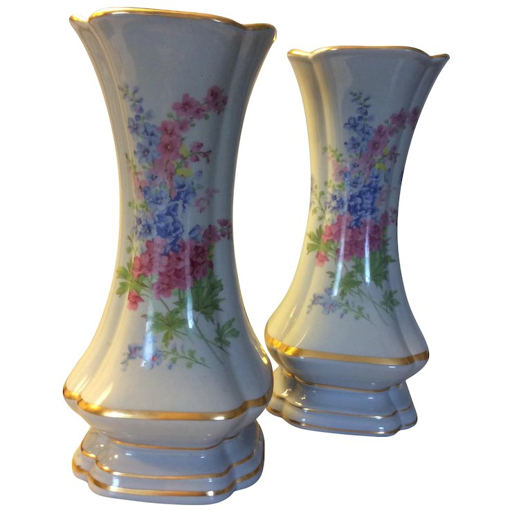 Pair Of Cerulean Or Periwinkle Blue Decorative Vases Eclectic