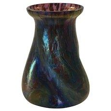 Iridescent art glass vase in style of Loetz