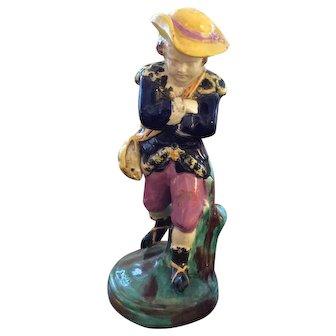 Majolica enameled figure of boy