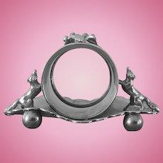 19th Century, Charming, Fox Napkin Ring, Wilcox, Silverplate