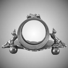 Antique, Victorian, Silver Plate,  Figural Fox Napkin Ring