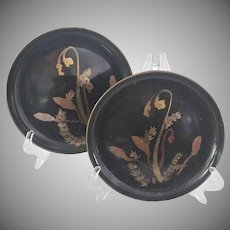 Vintage Asian Chinoiserie Lacquer Plates, Set of Fifteen