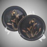 Vintage Japanese Design  Lacquer Plates, Set of 14
