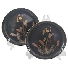 Vintage Japanese Design  Lacquer Plates, Set of 14
