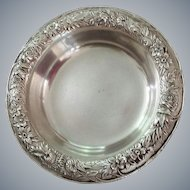 Sterling Silver Repousse  Dish ~ Coaster