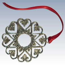 Sterling Silver Wreath Ornament