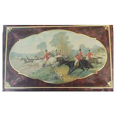 Equestrian Fox Hunt Vintage Casket Tin  ~  Box