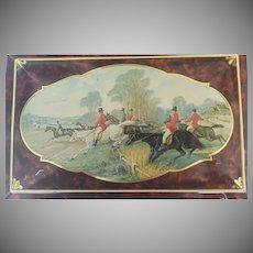 Equestrian Fox Hunt Vintage Casket Tin  ~  Box