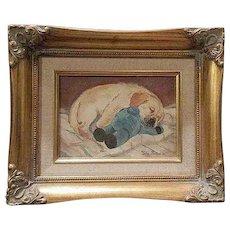 Vintage Labrador Puppy Painting