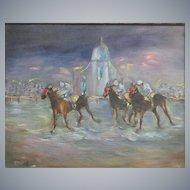 Horse Racing,  Vintage Oil Painting