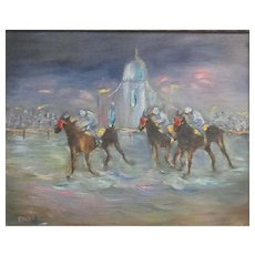 Vintage, Horse Racing, Impasto Oil Painting