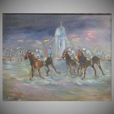 Vintage, Horse Racing, Impasto Oil Painting