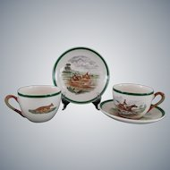 Equestrian Tea/Coffee Cups and Saucers, Set of Six