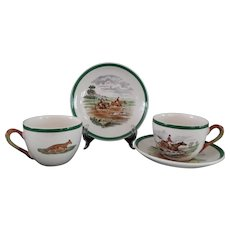 Vintage, Copeland, Spode,  Herring Fox Hunt,  Equestrian,  Tea/Coffee Cups and Saucers, Set of Six