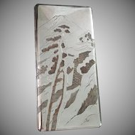 Vintage Sterling Silver Etched Large Card~Cigarette, Case