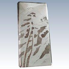 Vintage Sterling Silver Etched Large Card~Cigarette, Case