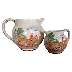 Vintage Equestrian Milk & Cream Pitchers, Fox Hunt