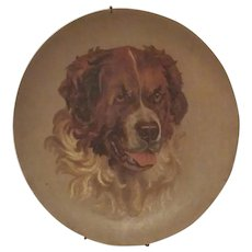 Antique 1889, Saint Bernard Dog Portrait Oil on Board