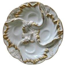 Antique Oyster Plate, Haviland, Limoge, France