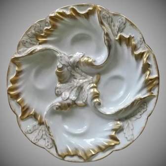 Antique Oyster Plate, Haviland, Limoge, France