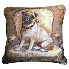 Charming Pug, Dog, Needlepoint Pillow