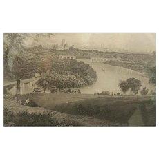 19th Century,  Philadelphia, Belmont Park, Engraving