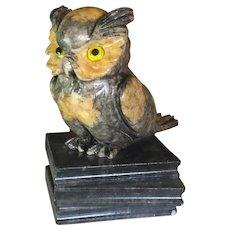 Vintage Alabaster Carved Owl