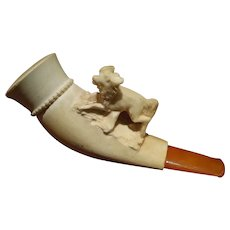 Meerschaum Pipe featuring a Handcarved Dog