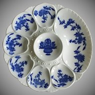 19th Century Minton Flow Blue Oyster Plate