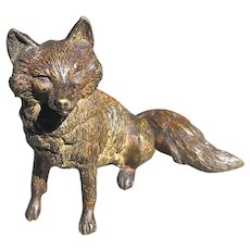 Antique Fox ~  Cold Painted Bronze