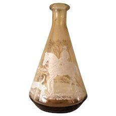 Vintage Equestrian Etched Glass Cruet / Vase