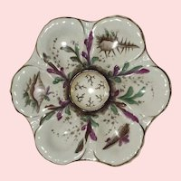 19th Century,  Sea LIfe, Hand Painted Oyster Plate