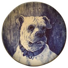 Vintage, English Bull Dog, Blue & White  Staffordshire, Flow Blue, Cabinet Plate