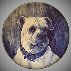 Vintage, English Bull Dog, Blue & White  Staffordshire, Flow Blue, Cabinet Plate