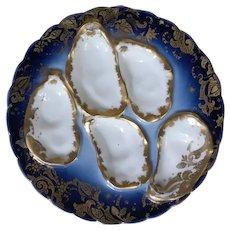 Stunning Antique Cobalt Blue Oyster Plate