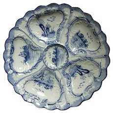 Blue & White,  Delft,   Antique Oyster Plate