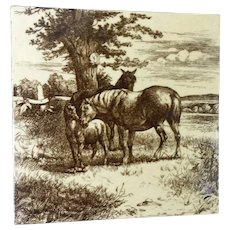 Antique, Equestrian, Mare & Foal  ~ William Wise,  Mintons Tile