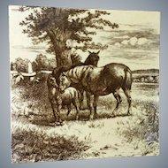 Antique Horse ~ Mare & Foal  ~ Mintons Tile