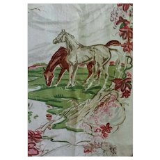 Vintage Equestrian Horse Fabric Panel